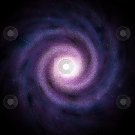 Spiral  Galaxy 4 stock photo, Top view of a Blue/Purple Spiral Galaxy with a plain black background.  Add to a 3D layer in After Effects to create your own galactic animations. by Dave Navarro