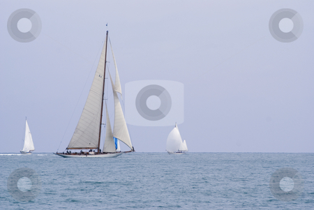 Sailing boat stock photo, Ancient sailing boat in Mediterranean sea. by Serge VILLA