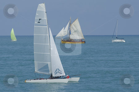 Catamaran stock photo, Two generations of sailings boat during a regatta. by Serge VILLA
