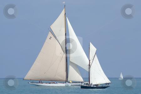 Old sailing boats stock photo, 2 sailing boats  before the the regatta. by Serge VILLA