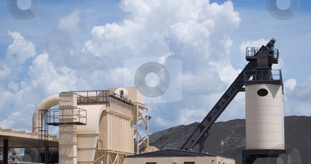 Asphalt processing plant stock photo, Asphalt processing plant with silo and stoarge area by Robert Cabrera