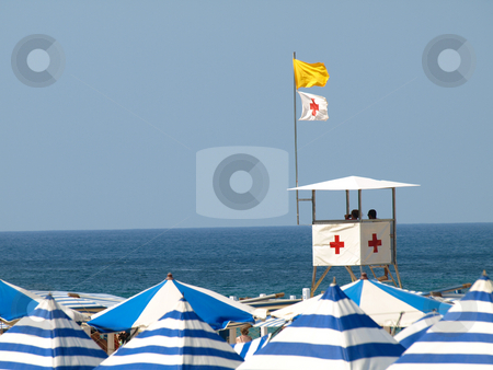 Lifeguards in tower stock photo, Lifeguards on duty on the atlantic coast San Sebastian Spain by Laurent Dambies