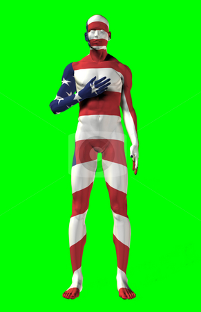 USA Pledge of Allegiance stock photo, Man with a USA flag painted on his body, with his hand over his heart.  Computer generated image. by Dave Navarro