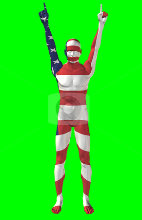 Victory for the USA stock photo, Man with a USA flag painted on his body, with his hands held high in victory and fingers pointed.  Computer generated image. by Dave Navarro