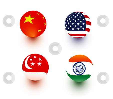 Spherical Flags stock vector clipart, Spherical illustration of flags of China, USA, Singapore, India by Stephanie Soon
