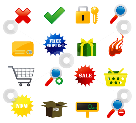 E-commerce Icons stock vector clipart, Shopping and e-commerce icons by Stephanie Soon