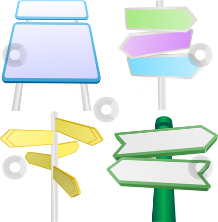 Vector set of signs and signposts stock vector clipart, A vector set of blank signs and signposts by Christos Georghiou