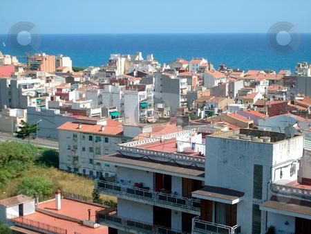 Spanish seaside resort stock photo, Spanish seaside resort of Calella by Mediterranean ocean. by Martin Crowdy