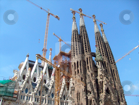 Sagrada Familia Barcelona stock photo, Exterior view of Sagrada Familia in Barcelona, Spain. by Martin Crowdy
