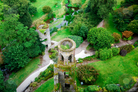 Blarney Castle Ireland stock photo, Overhead aerial view of Blarney Castle near Cork, Ireland. by Martin Crowdy