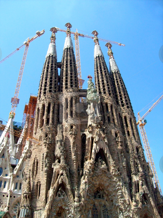 Sagrada Familia Spain stock photo, Exterior of Sagrada Familia, Barcelona, Spain. by Martin Crowdy