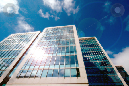 Modern Office buildings stock photo, Exterior facade of modern office buildings. by Martin Crowdy