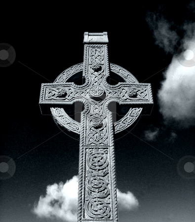 Celtic Cross stock photo, Black and white portait of a historic Celtic Cross. by Martin Crowdy