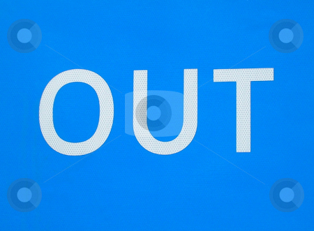 White Out sign on blue background stock photo, Details of white Out sign on blue background. by Martin Crowdy