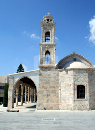 Traditional Cypriot Church stock photo, Exterior facade of traditional Cypriot church and belltower. by Martin Crowdy