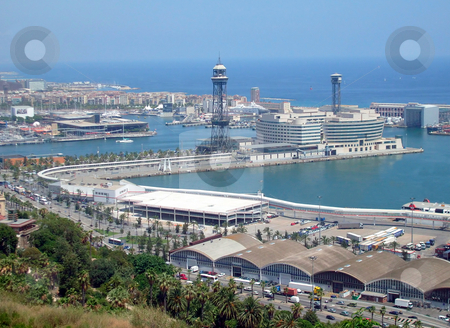 Barcelona Port Spain stock photo, Overhead view of busy port terminus, Barcelona harbor, Spain. by Martin Crowdy