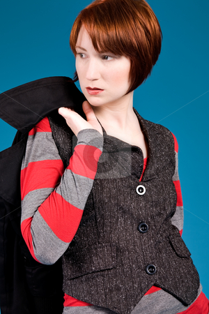 Red haired attitude stock photo, Young red haired girl with a fashion attitude by Frenk and Danielle Kaufmann