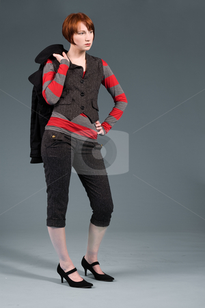 Fashion standing stock photo, Young red haired girl with a fashion attitude by Frenk and Danielle Kaufmann