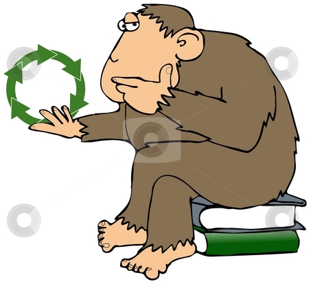 Recycling Ape stock photo, This illustration depicts an ape contemplating a recycling symbol. by Dennis Cox