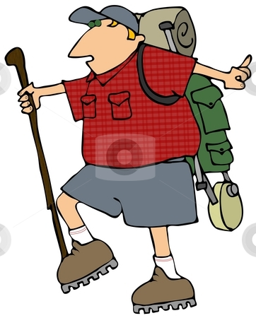 Backpacking Man stock photo, This illustration depicts a man hiking with a backpack. by Dennis Cox