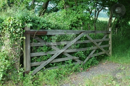 Old Rustic Gate stock photo, Gate farm fields wood by Ray Roscoe