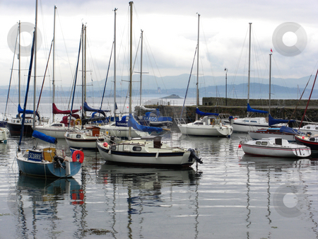 Sailboats in the harbour stock photo, Sailboats in the harbour, Scotland by Juliet Photography