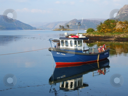 A boat stock photo, A boat on a calm lake in Plockton, Scotland by Juliet Photography