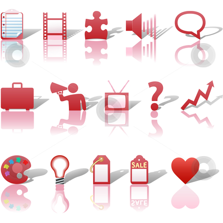 Communications Media Business Icons Reflections Shadows Set 3 Re stock vector clipart, A red web Communications or Media business icon set, with reflections and shadows. by Michael Brown