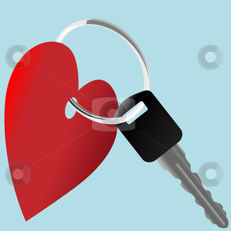 Heart symbol and car key on a shiny ring stock vector clipart, Love the Car: a set of heart symbol and auto key on a shiny key ring. by Michael Brown