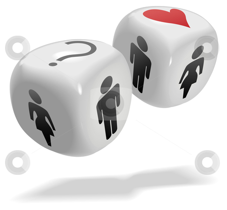 Lucky in Love People Chance Game Dice Cubes stock vector clipart, Concepts on 2 shiny dice cubes: Luck; Love; People; Gamble; Risk; Randomness; Romance by Michael Brown