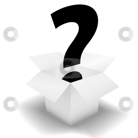 Mystery Box - question mark in a clean white carton stock vector clipart, Mystery Box - deliver a question mark symbol in a clean white open carton. by Michael Brown