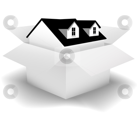 New Home boxed for sale in a clean white House Carton stock vector clipart, A New Home for sale or delivery in a clean white House Carton as: icon; a gift; real estate concepts. Use the box as a background and add your label copy. by Michael Brown
