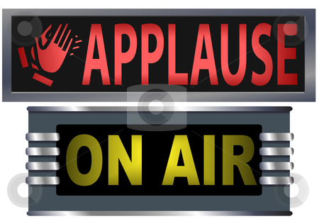 ON AIR & APPLAUSE Theater Broadcasting Studio Signs stock vector clipart, Big bright ON AIR and APPLAUSE signs for your theater, broadcasting studio, website, banner ad, and music needs. by Michael Brown