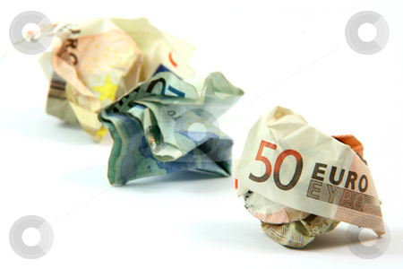 Wrinkled banknotes stock photo, Three wrinkled euro banknotes isolated on white background by EVANGELOS THOMAIDIS