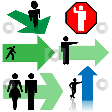 Arrow Signs & Symbol Set People Point in Your Directions stock vector clipart, A set of arrow signs & symbol people, men and women, point in your directions. by Michael Brown