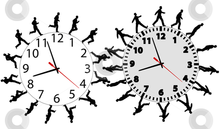 Business men in a hurry run & walk on time clocks stock vector clipart, Business men run and walk in a hurry on time. Through the business wok day on time clocks like gears. by Michael Brown