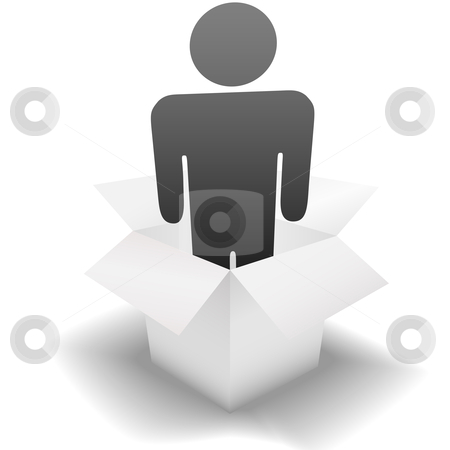 Deliver a Delivery Person in a clean white Carton stock vector clipart, Ship & deliver a symbol delivery person inside a clean white open Carton; idea of employee, human resources, temp. by Michael Brown