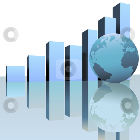Blue Global Profit Growth Charts with World Globe stock vector clipart, A rising chart graph predicts global worldwide growth with a globe as symbol of success and financial, business, or other increase . by Michael Brown