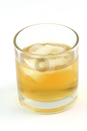 Whiskey on the rocks stock photo, Glass with whiskey on the rocks isolated on white background by EVANGELOS THOMAIDIS