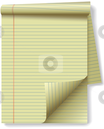 Yellow Legal Pad Corner Paper Page Curl stock vector clipart, Pages of yellow legal ruled notebook pad paper - page curl flip and drop shadows. Easily tilt or otherwise edit it. by Michael Brown