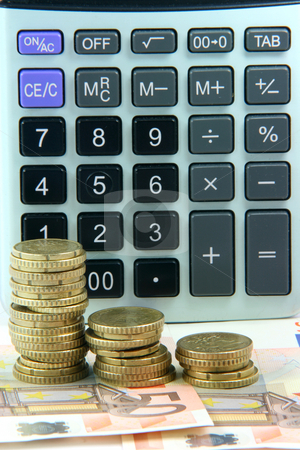 Coins notes calculator stock photo, Business accounting and finance concepts stack of euro coins and banknotes with calculator background by EVANGELOS THOMAIDIS