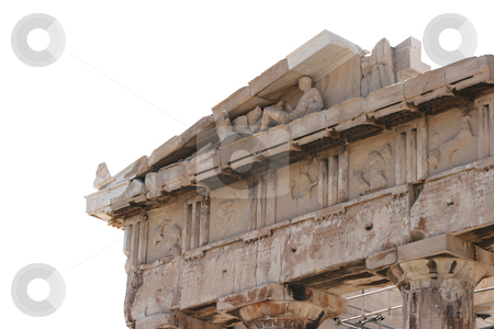 Parthenon isolated stock photo, Detail from sculptures in parthenon at acropolis of athens greece isolated by EVANGELOS THOMAIDIS