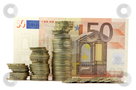 European money isolated stock photo, Europian money piles of coins and fifty euro bancknote background isolated business and finance by EVANGELOS THOMAIDIS