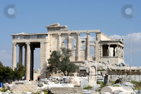 The temple of erechtheum stock photo, The temple of Erechtheum on acropolis of Athens Greece by EVANGELOS THOMAIDIS
