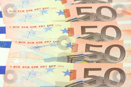 Euro background stock photo, Fifty euro banknotes detail for background use business and finance concepts by EVANGELOS THOMAIDIS