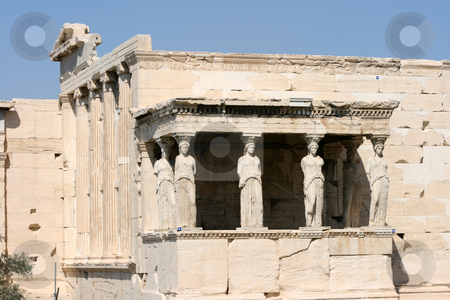 Temple of erechtheum stock photo, Caryatids at temple of Erechtheum on acropolis of Athens Greece by EVANGELOS THOMAIDIS