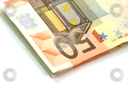 Detail fifty euros stock photo, Detail from fifty euro banknote isolated onn white background business and finance concepts by EVANGELOS THOMAIDIS