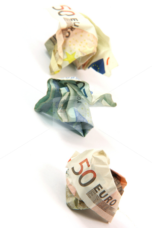 Crumpled money vertical stock photo, Crumpled euro banknotes isolated on white background business and finance concepts by EVANGELOS THOMAIDIS