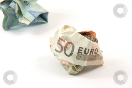 Two crumpled banknotes stock photo, Two crumpled euro banknotes isolated on white background with copy space by EVANGELOS THOMAIDIS