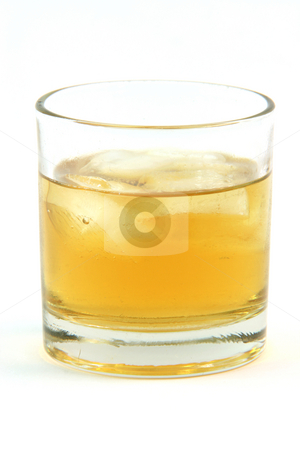 Alchohol glass stock photo, One glass with whiskey on the rocks isolated on white background by EVANGELOS THOMAIDIS